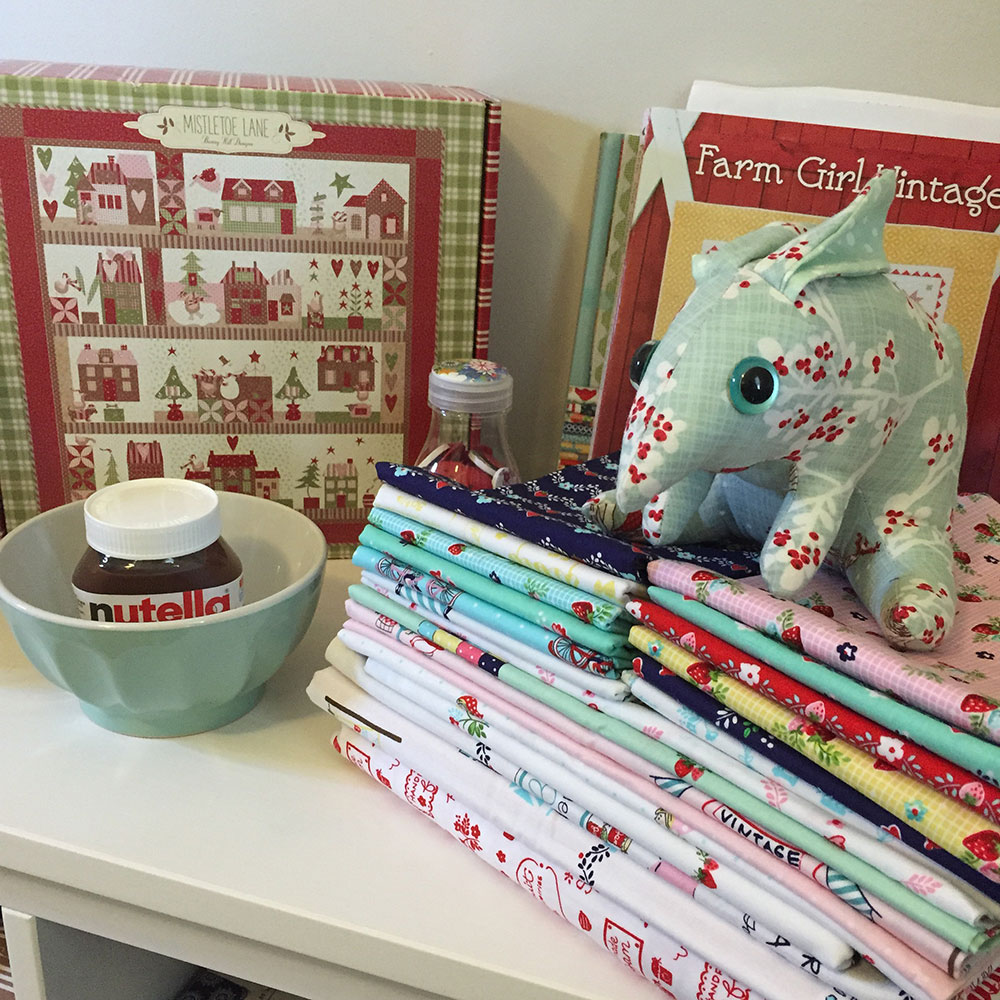 misssnowminty guarding Mistletoe lane and Vintage market fabric