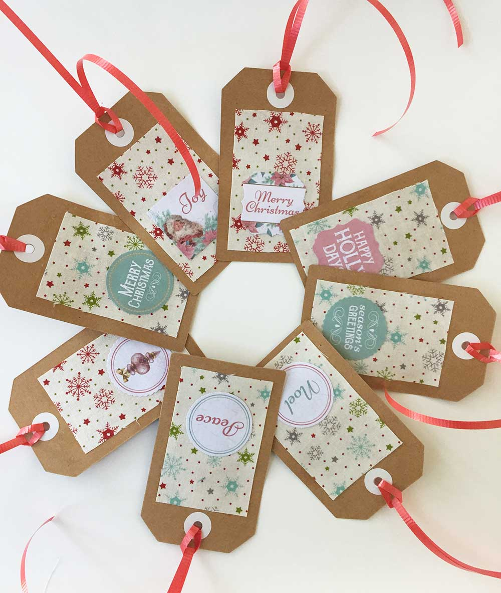 Quick Christmas Fabric Gift Tags Tutorial
