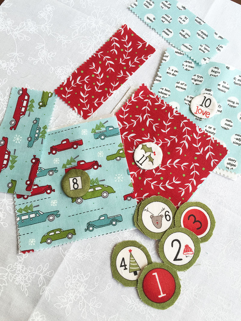 Sweetwater Fabric holly's tree farm advent calendar numbers sewn