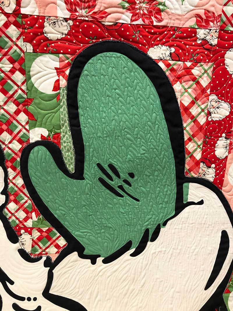swell christmas santa mitten quilting